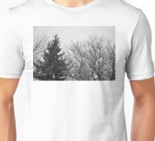 black and white snow trees Unisex T-Shirt