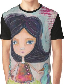 Girl and a Bluebird Graphic T-Shirt