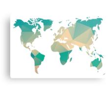 World map in geometric triangle pattern design Metal Print