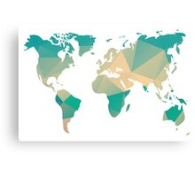 World map in geometric triangle pattern design Canvas Print