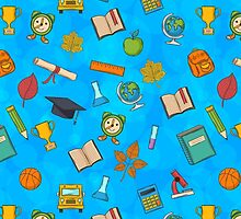 Back to school on blue background by AldanNi