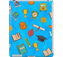 Back to school on blue background iPad Case/Skin