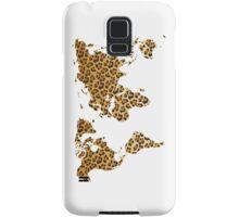 World map in animal print design, leopard pattern Samsung Galaxy Case/Skin