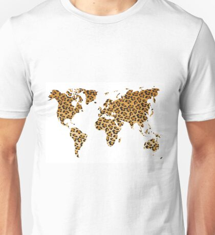 World map in animal print design, leopard pattern Unisex T-Shirt
