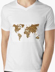 World map in animal print design, leopard pattern Mens V-Neck T-Shirt