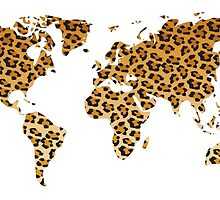 World map in animal print design, leopard pattern by BlueLela