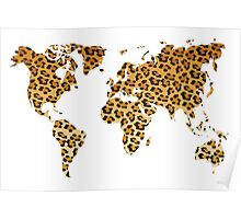 World map in animal print design, leopard pattern Poster