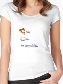 Pizza, Cats, And Tumblr Women's Fitted Scoop T-Shirt