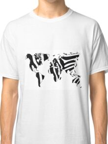 World map in animal print design, zebra pattern Classic T-Shirt