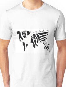 World map in animal print design, zebra pattern Unisex T-Shirt