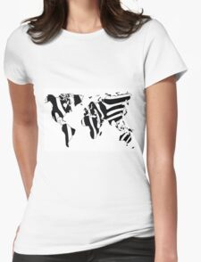 World map in animal print design, zebra pattern Womens Fitted T-Shirt