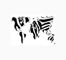 World map in animal print design, zebra pattern Unisex T-Shirt
