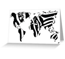 World map in animal print design, zebra pattern Greeting Card