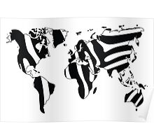 World map in animal print design, zebra pattern Poster