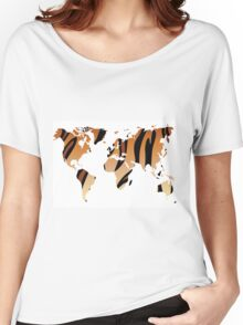 World map in animal print design, tiger pattern Women's Relaxed Fit T-Shirt