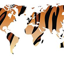 World map in animal print design, tiger pattern by BlueLela