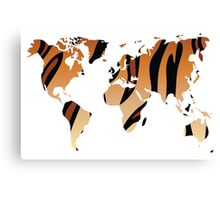 World map in animal print design, tiger pattern Canvas Print