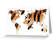 World map in animal print design, tiger pattern Greeting Card