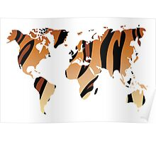 World map in animal print design, tiger pattern Poster