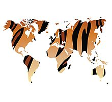 World map in animal print design, tiger pattern Photographic Print