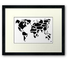 World map in animal print design, black and white Framed Print