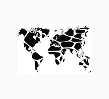 World map in animal print design, black and white Unisex T-Shirt