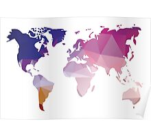 World map in geometric triangle pattern design Poster