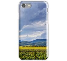 Beautiful sunlight over vineyards with blue sky and mountains on horizon, Alsace, France iPhone Case/Skin