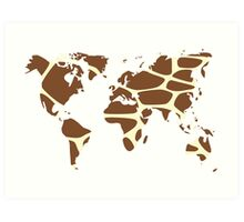 World map in animal print design, giraffe pattern Art Print