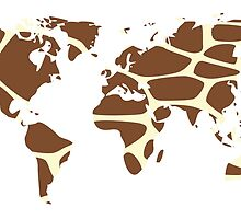 World map in animal print design, giraffe pattern by BlueLela