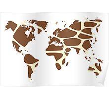 World map in animal print design, giraffe pattern Poster