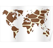 World map in animal print design, giraffe pattern Poster