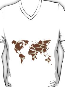 World map in animal print design, giraffe pattern T-Shirt