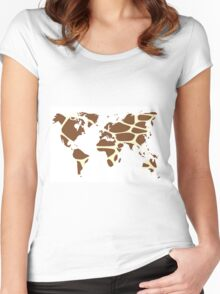 World map in animal print design, giraffe pattern Women's Fitted Scoop T-Shirt