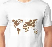 World map in animal print design, giraffe pattern Unisex T-Shirt