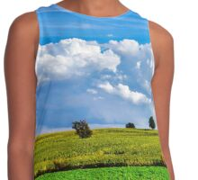Ripe corn and vivid blue sky with beautiful clouds, season specific Contrast Tank