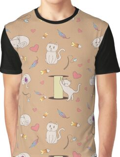 Cats Pattern Graphic T-Shirt