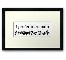 Keeping Yourself Anonymous Framed Print