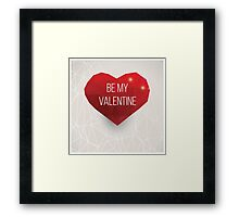 Valentine's day card, geometric triangle pattern, label design, typography Framed Print