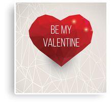 Valentine's day card, geometric triangle pattern, label design, typography Canvas Print