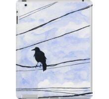 Bird on wire crow blue sky minimalist iPad Case/Skin