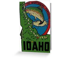 Idaho ID State Vintage Travel Fishing Decal Greeting Card
