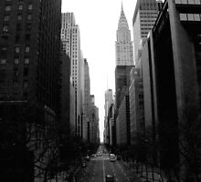 Looking Down 42nd St - B&W by Amanda Vontobel Photography