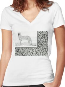 Cheetah leopard print pencil drawing Women's Fitted V-Neck T-Shirt
