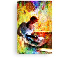 Girl with book by window bathed in morning light Canvas Print