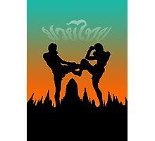 muay thai sunset temple fighter Photographic Print