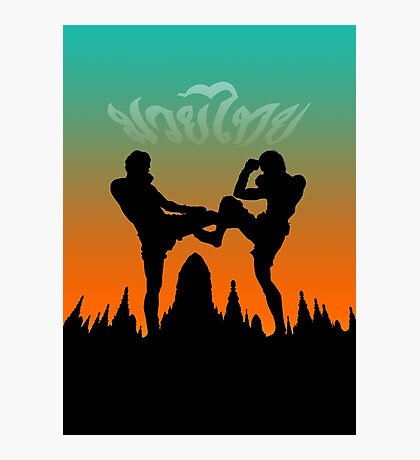 muay thai sunset temple fighter Photographic Print