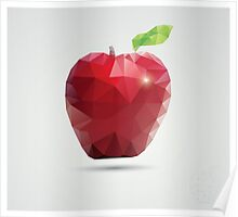 Geometric polygonal fruit, triangles, apple Poster