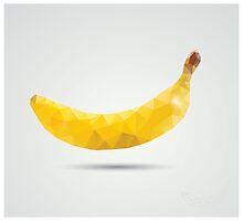 Geometric polygonal fruit, triangles, banana by BlueLela