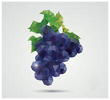 Geometric polygonal fruit, triangles, grapes Photographic Print